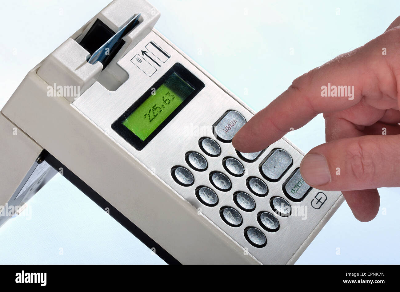money / finances, EC data terminal, EC card unit, made by Giesecke & Devrient, Ganzfigur, Germany, 1994, Additional - Stock Image