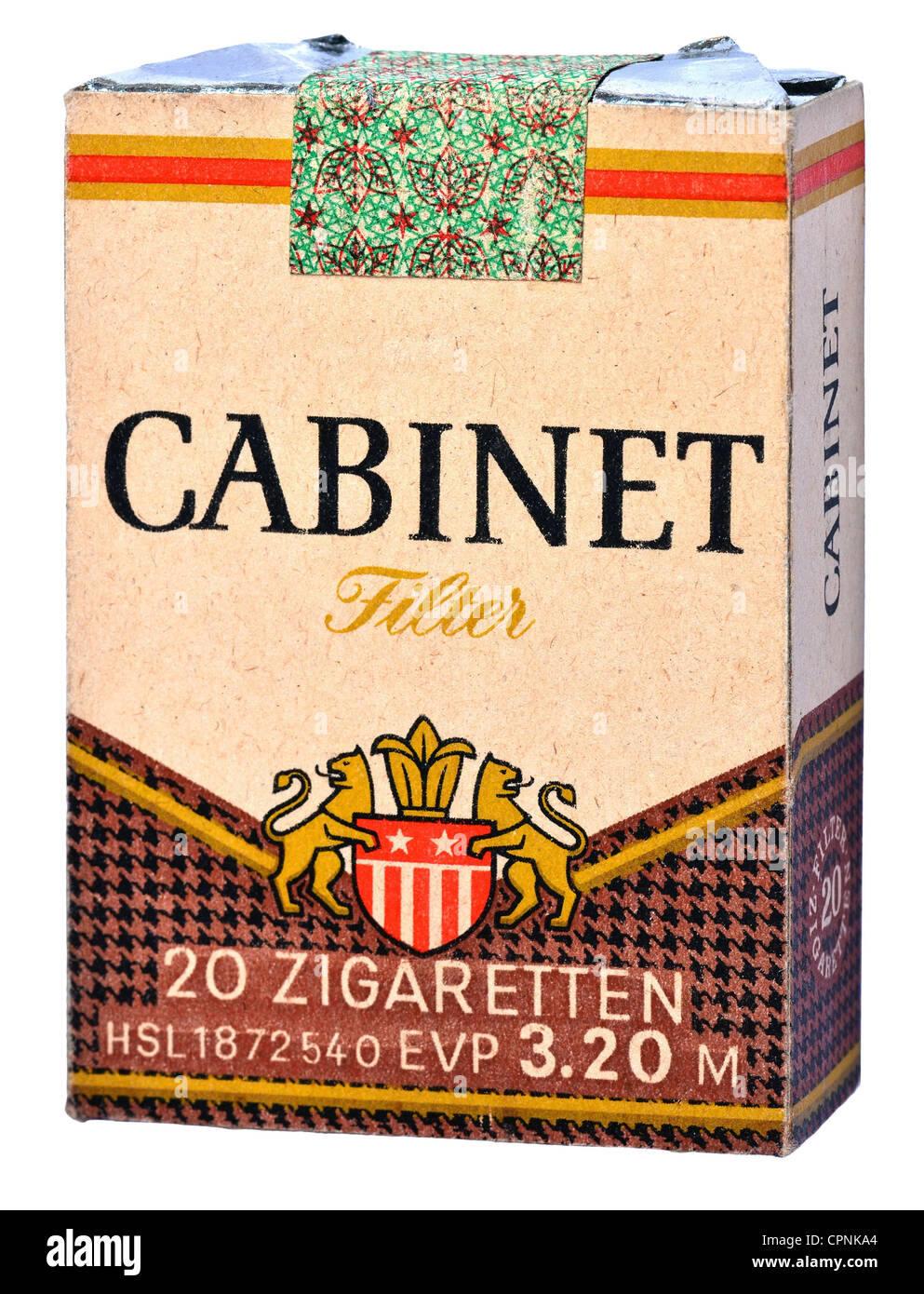 tobacco, cigarette packet, Cabinet Filter, East-Germany cigarette, Cabinet, made by: VEB Tabak Nordhausen und Vereinigte - Stock Image