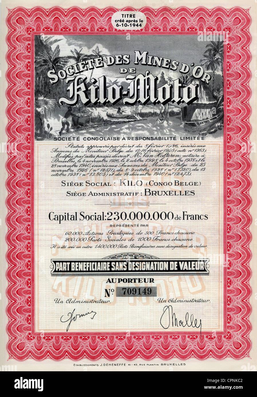 money / finances, share, Societe des Mines d'Or de Kilo-Moto, Belgian goldmine share about 1000 franc, Belgium, - Stock Image