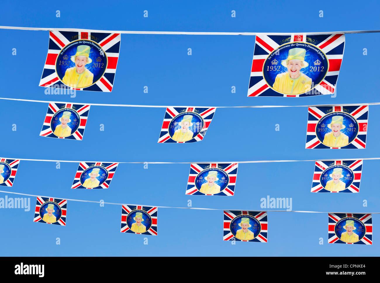 Queen's Diamond Jubilee Bunting 2012 - Stock Image