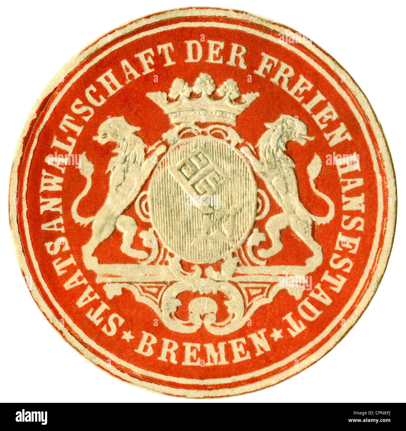 justice, seal, seal, label, prosecution of the Hanseatic town Bremen, Germany, circa 1890, Additional-Rights-Clearences - Stock Image