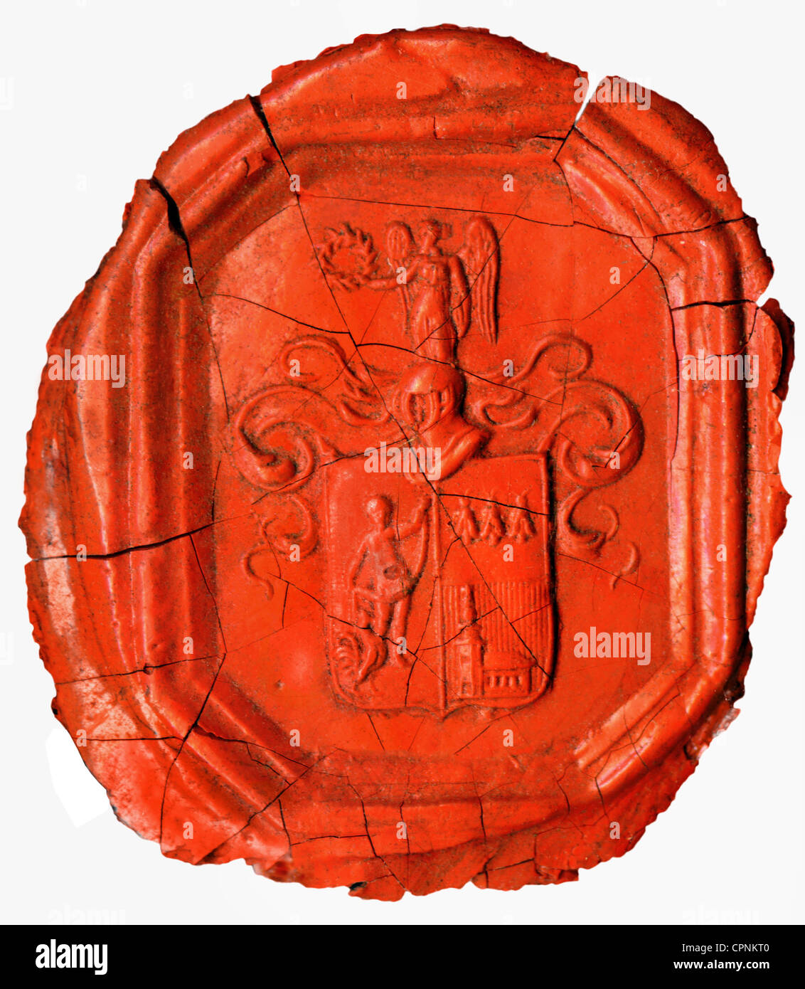 heraldry, seal, nobility seal, red, sealing wax, broken, Germany, circa 1820, Additional-Rights-Clearences-NA - Stock Image