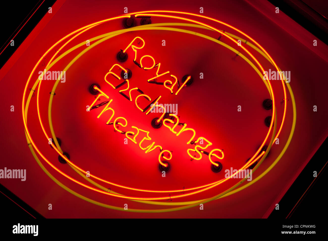 Manchester Northern England UK Royal Exchange Theatre neon sign Stock Photo
