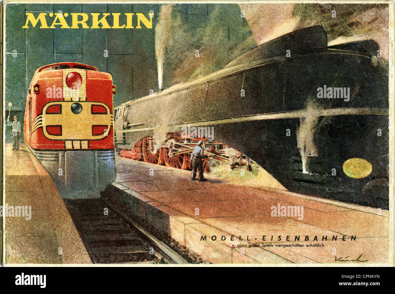 toys, model railway, Maerklin Catalogue, left: version DL800, DL means twin locomotive, right: the famous express - Stock Image