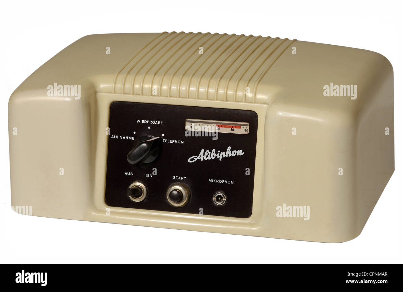 postal system, telephone, Alibiphon, first answering machine, only play device, no recording of messages, notation - Stock Image