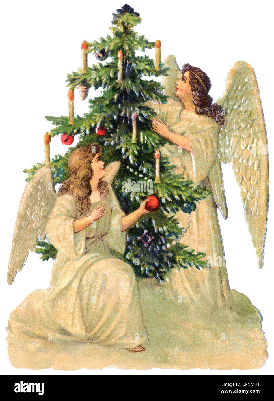 Christmas Christmas Angel Two Angels Decorating The Christmas Tree