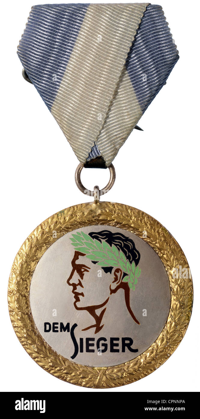 sports, medal, 'Dem Sieger', 1st place, at the South Bavarian Championships 1932, Germany, 1932, Additional - Stock Image