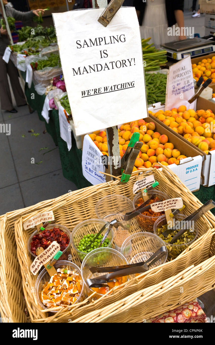 Free samples, Farmers' Market held twice weekly at Ferry (Building) Plaza, San Francisco, California. Editorial - Stock Image