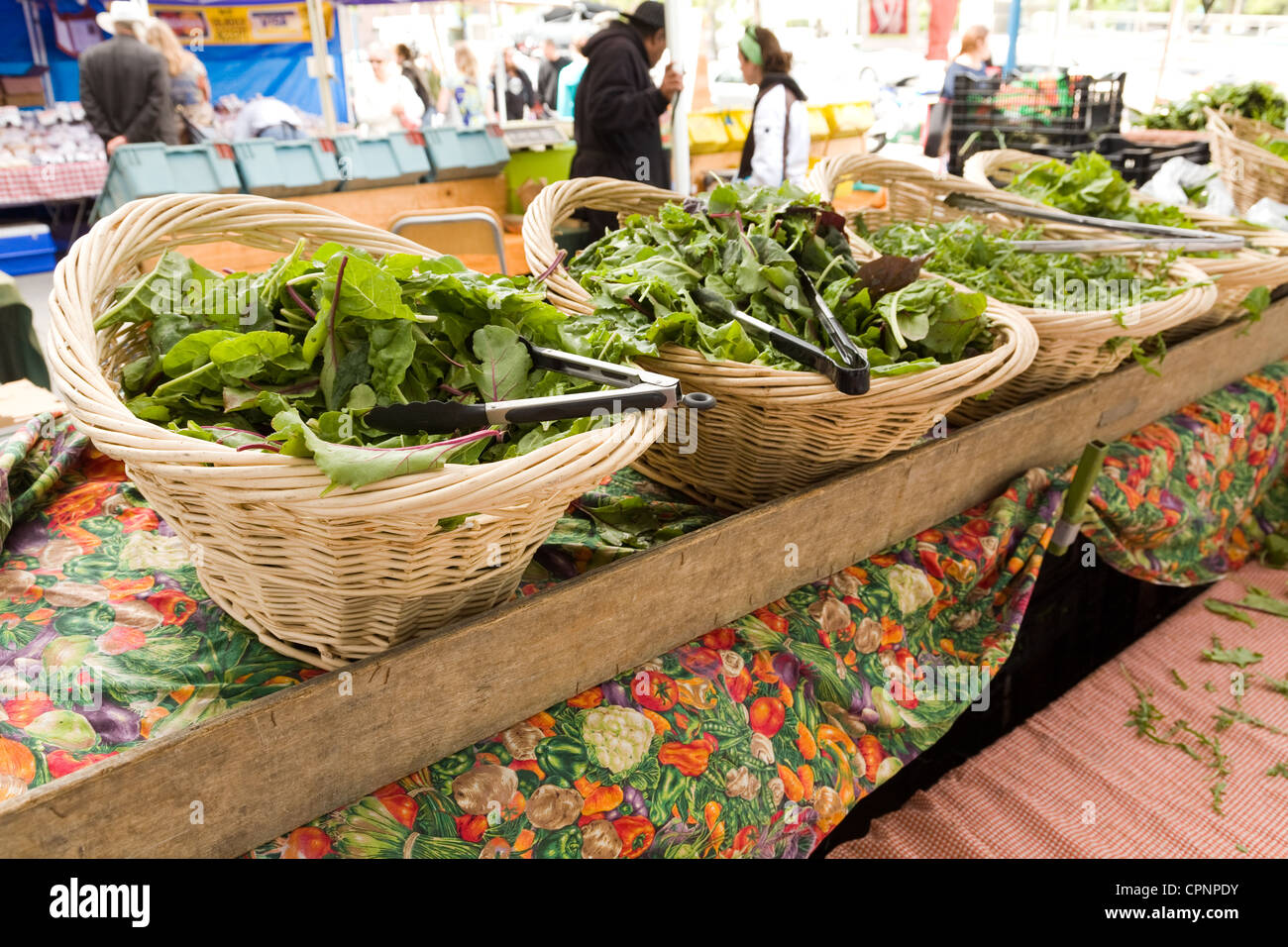 Fresh greens in the Farmers' Market, outside San Francisco's famous Ferry Building on the Embarcadero.  - Stock Image