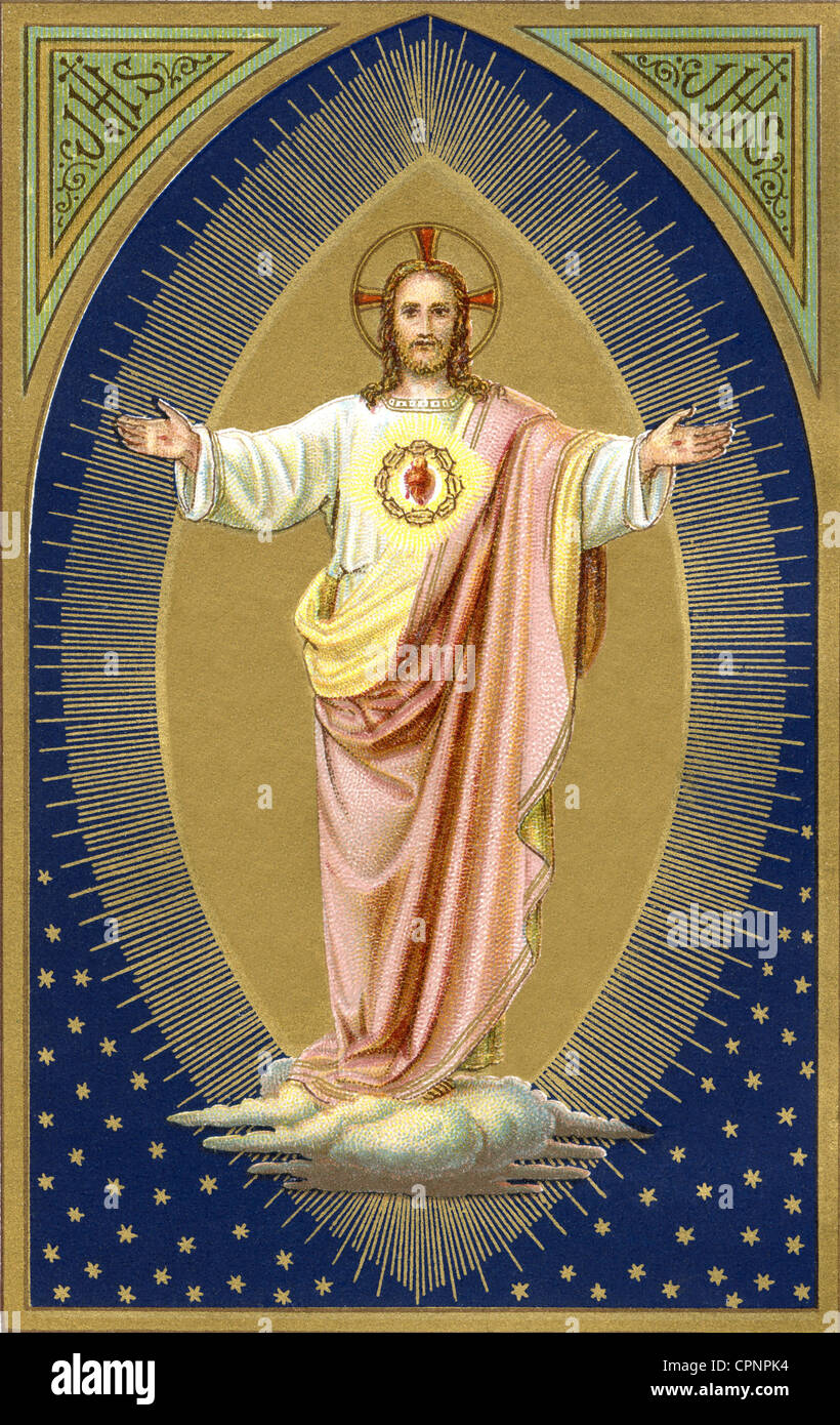 religion, Christianity, Jesus Christ, as Saviour, religious portrayal out of an old Christian calendar, Germany, - Stock Image