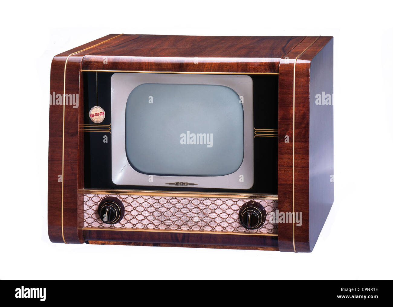 broadcast, television, television set TeKaDe FS 1040, early German tabletop TV set of the Nuremberg company TeKaDe, - Stock Image