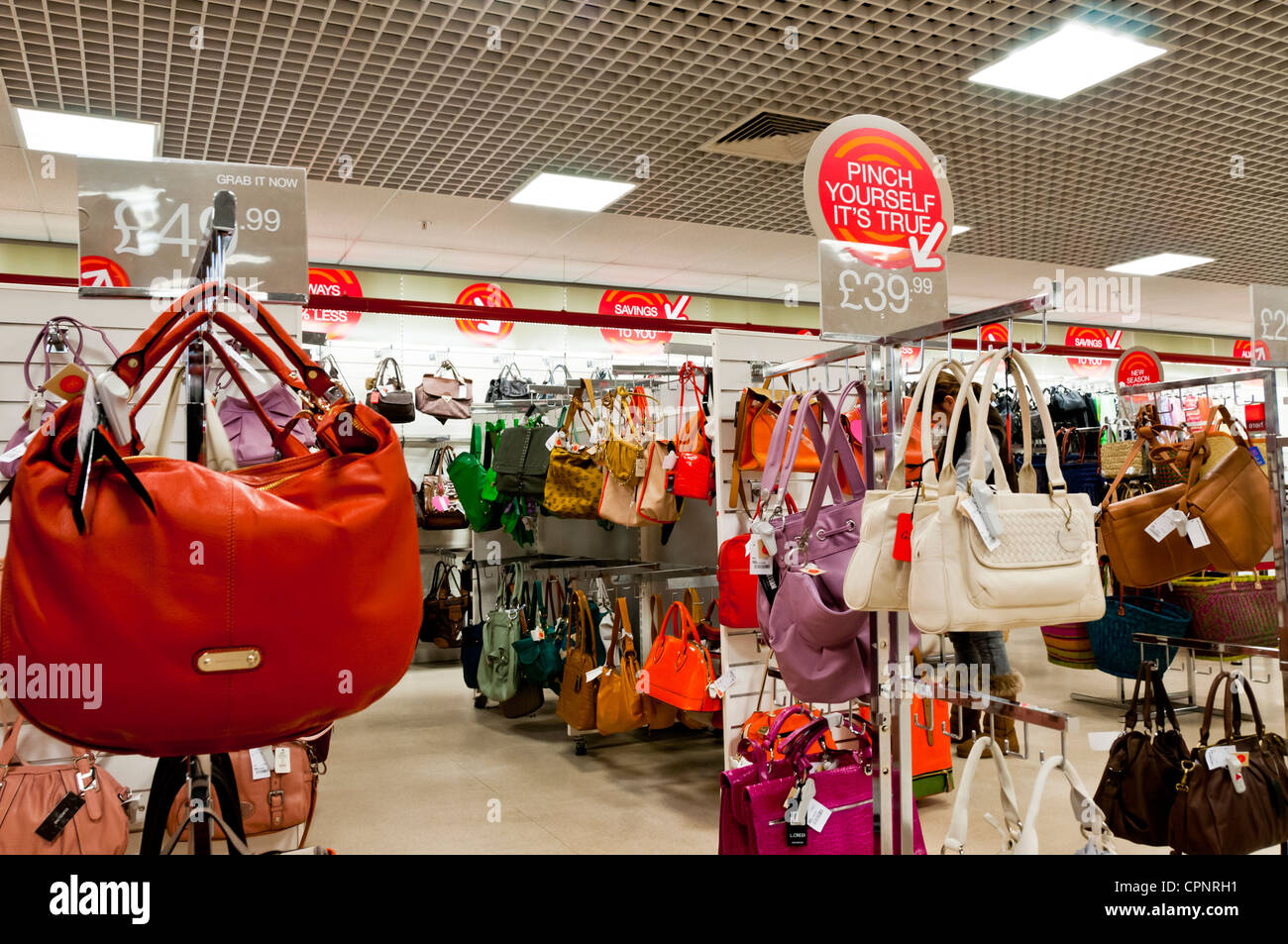 branded ladies handbags sold at discounted prices in tk maxx uk stock photo 48422669 alamy. Black Bedroom Furniture Sets. Home Design Ideas