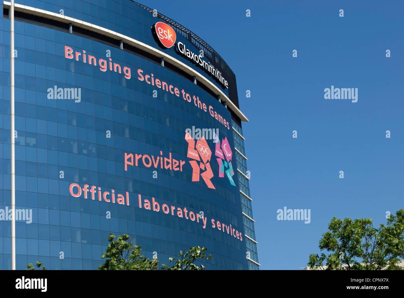 headquarters of gsk, glaxo smith kline, with 2012 olympic