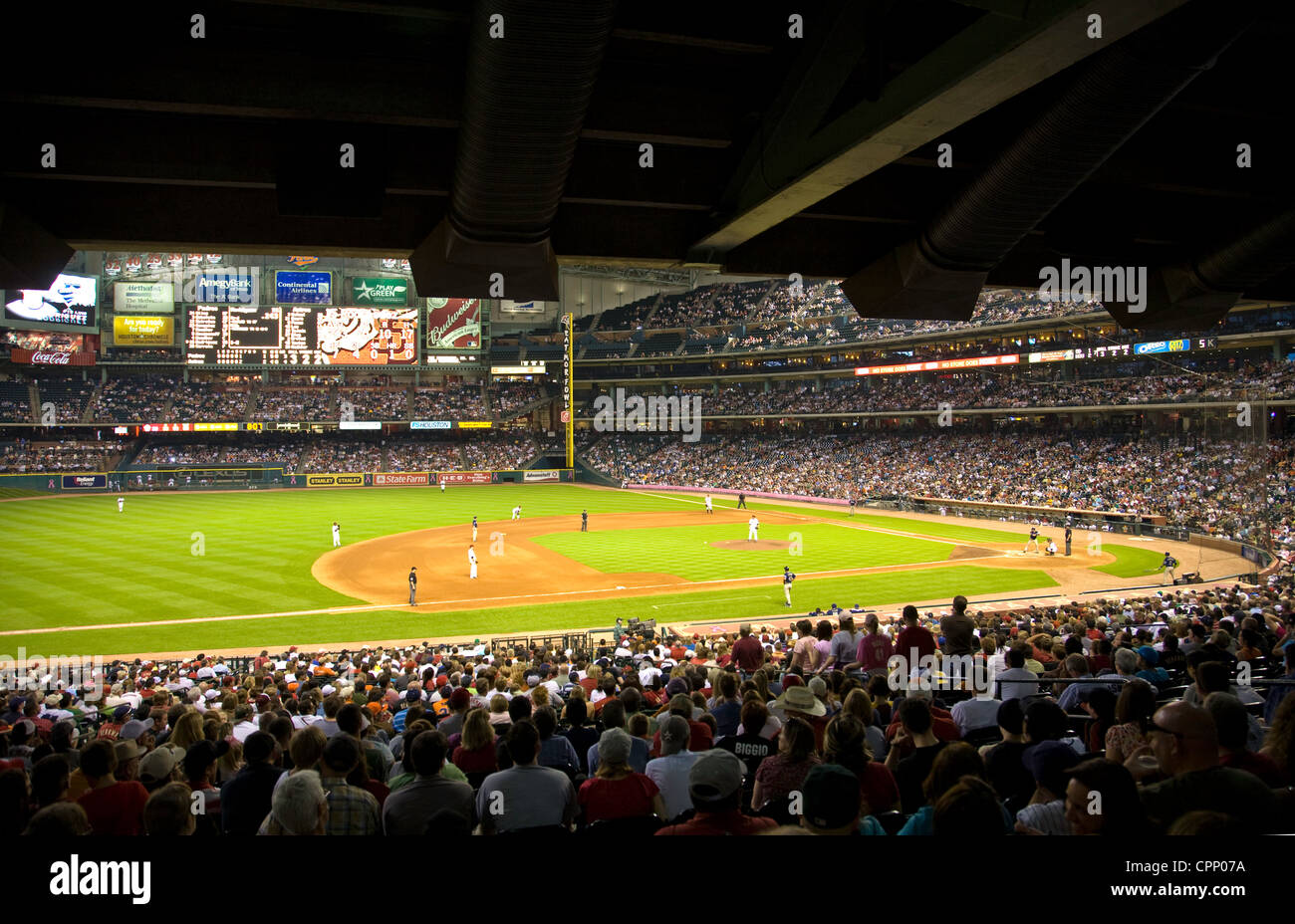 Baseball game in Minute Maid Park, Houston, Texas. Editorial use only. - Stock Image