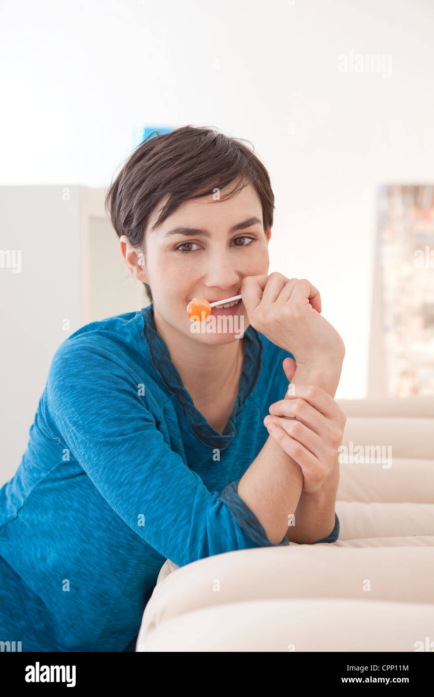 WOMAN EATING - Stock Image