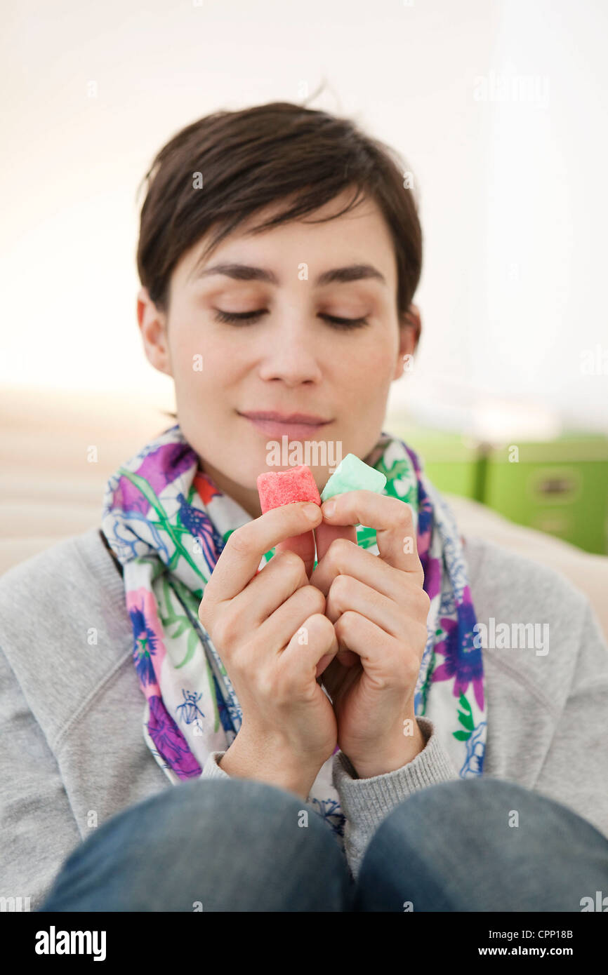 WOMAN EATING - Stock Image
