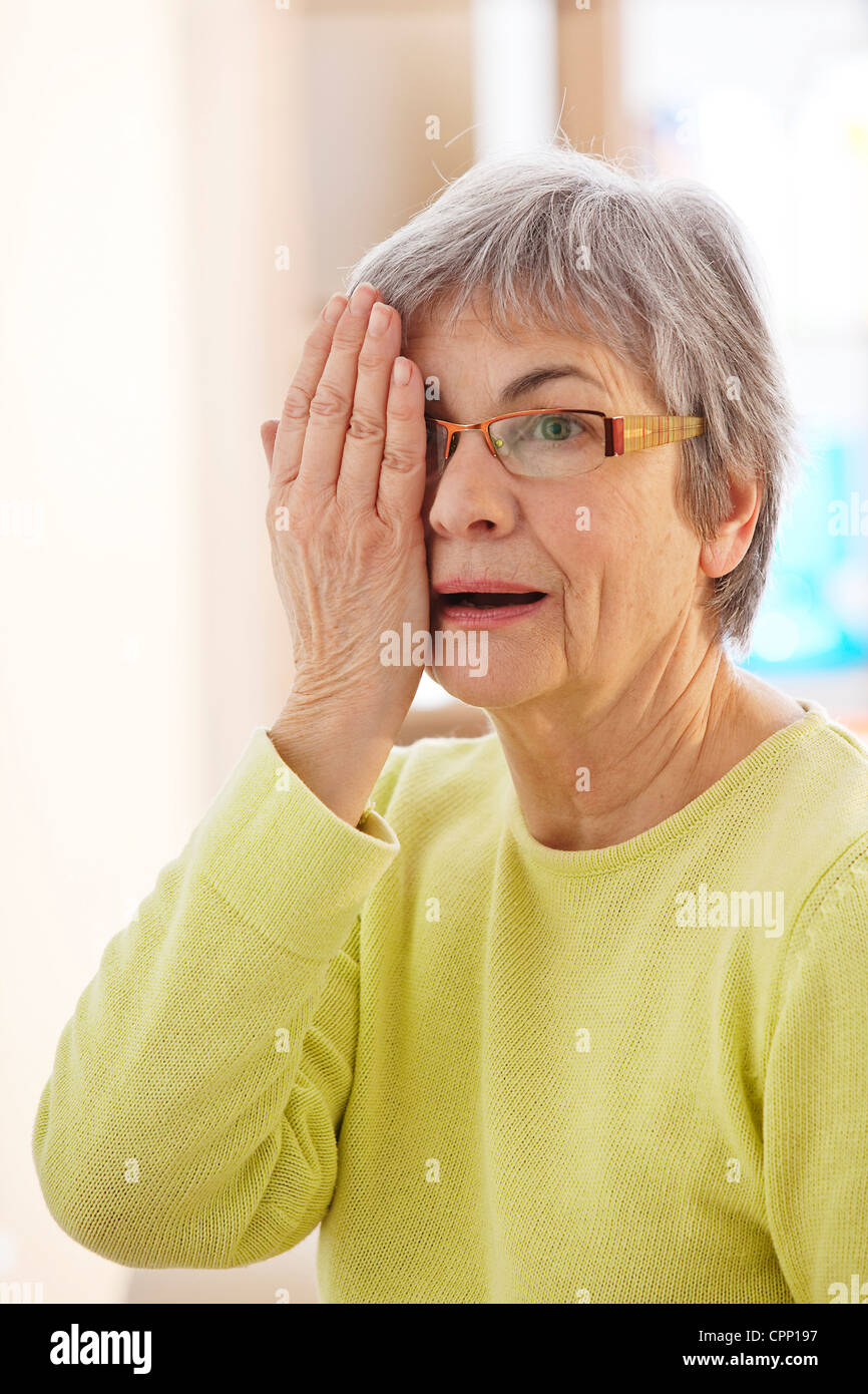 OPHTALMOLOGY, ELDERLY PERSON - Stock Image
