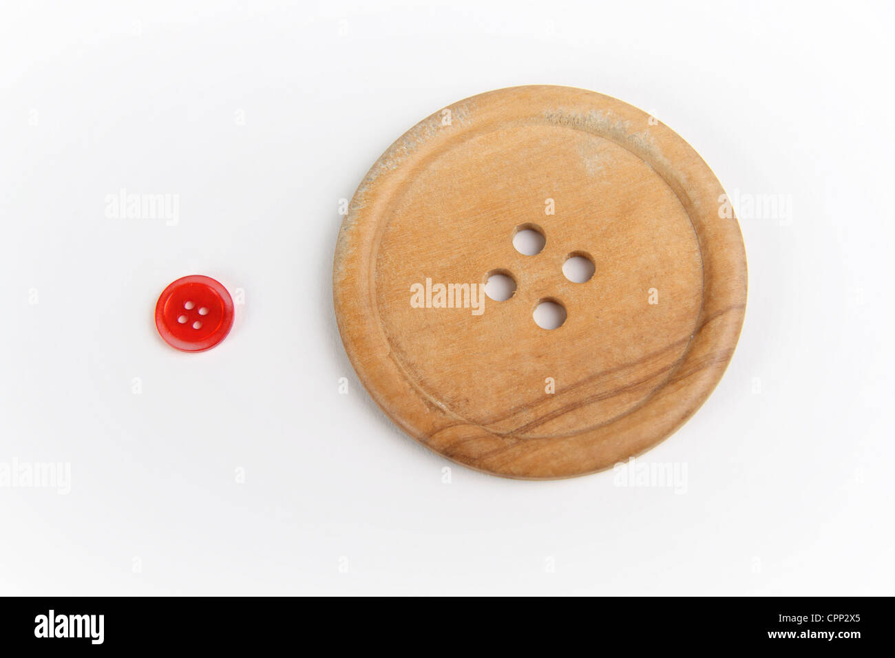 A large and small button - Stock Image