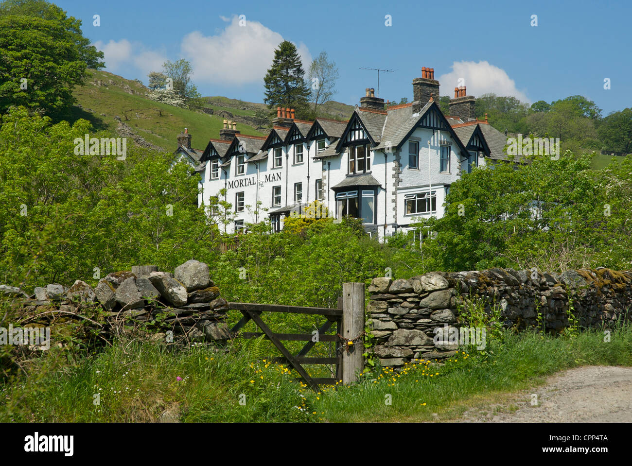 Pub, the Mortal Man, in the village of Troutbeck, Lake District National Park, Cumbria, England UK - Stock Image
