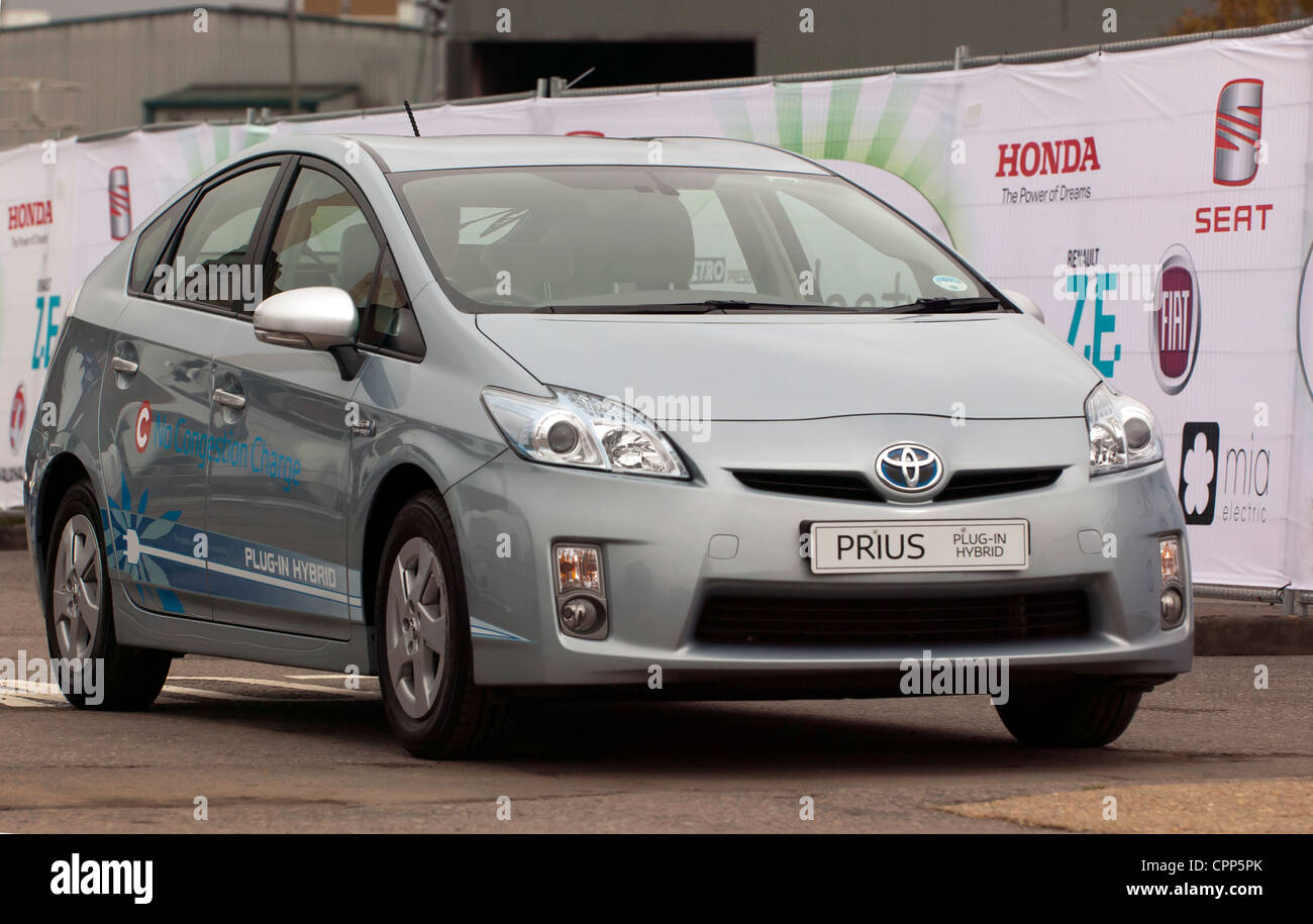 A Toyota Prius being demonstrated on the test track at ecovelovity 2011 - Stock Image