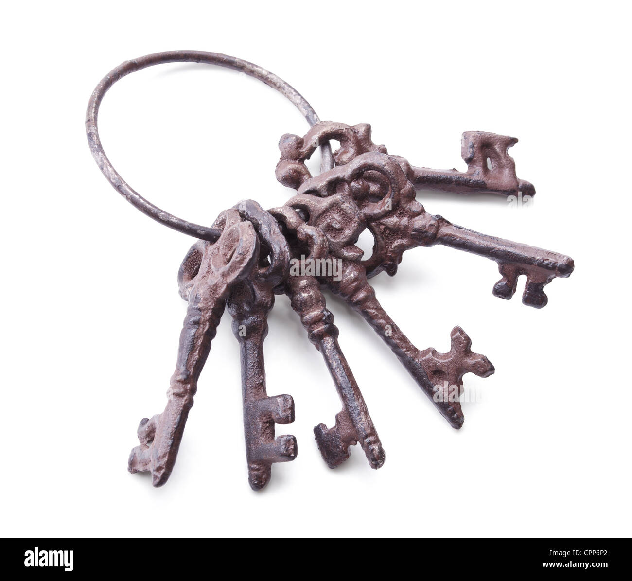 bunch of antique keys isolated on white background Stock Photo