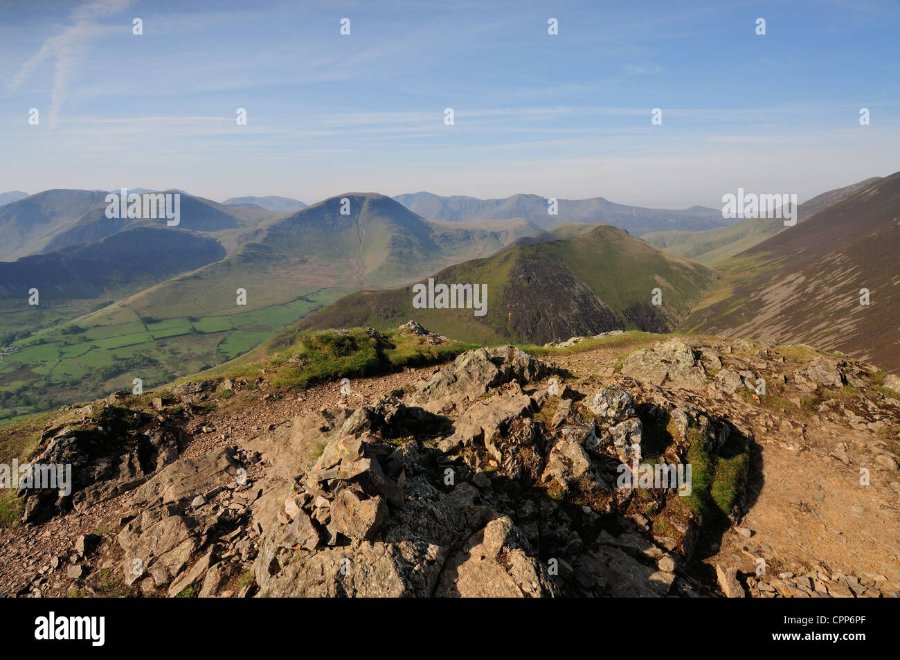 View towards Knott Rigg and Robinson from the summit of Causey Pike in the English Lake District Stock Photo