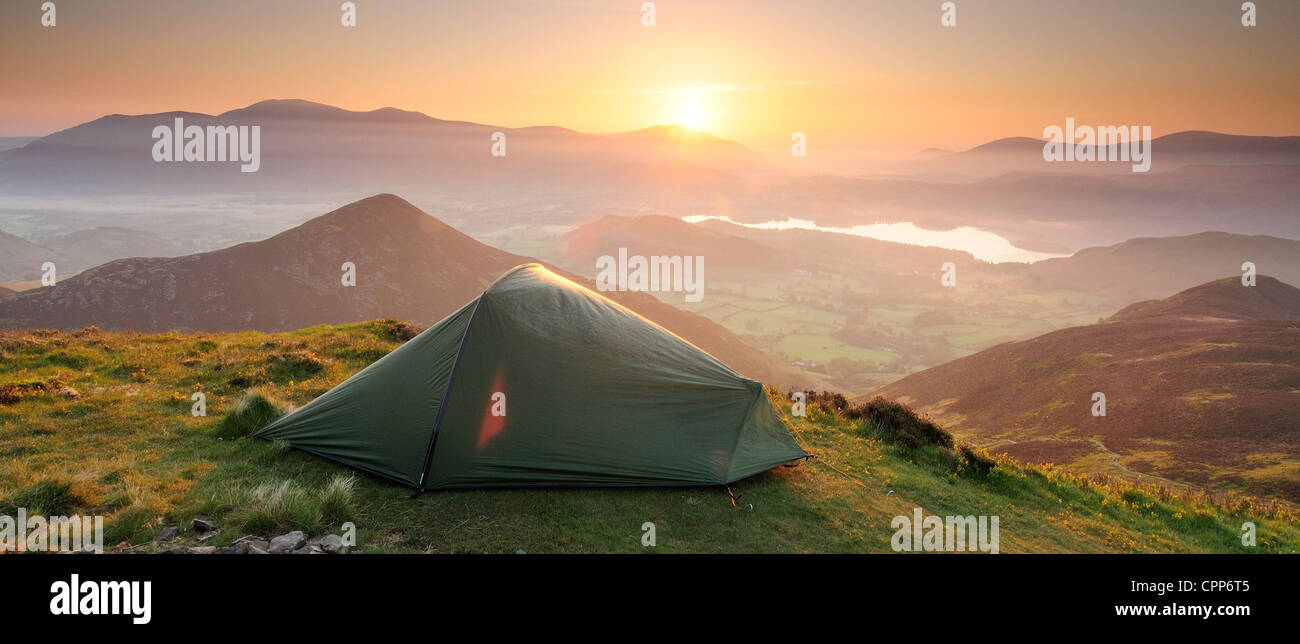 Sunrise wild camping panorama in the English Lake District. Taken from the summit of Causey Pike - Stock Image
