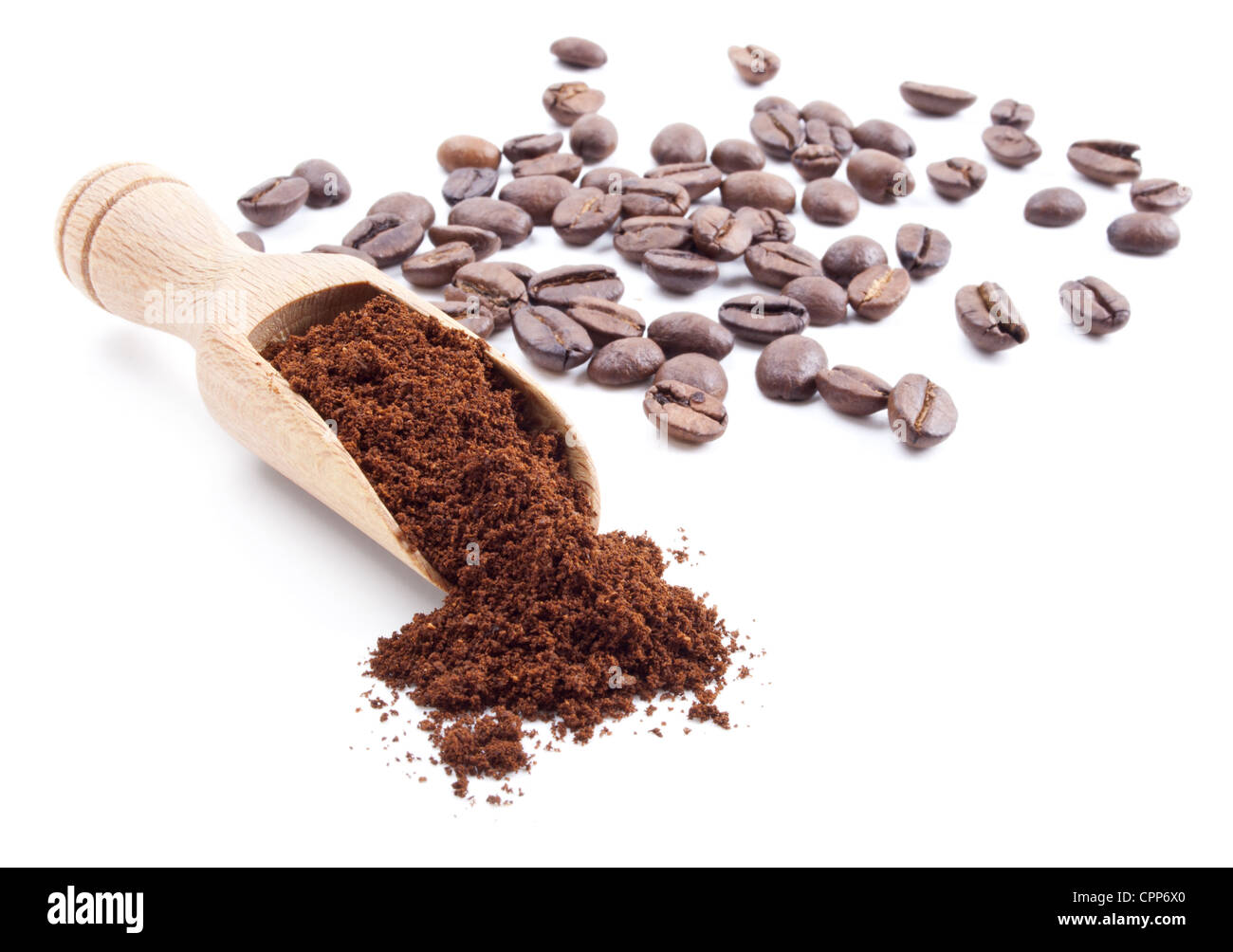 ground coffee and coffee beans isolated on white background Stock Photo