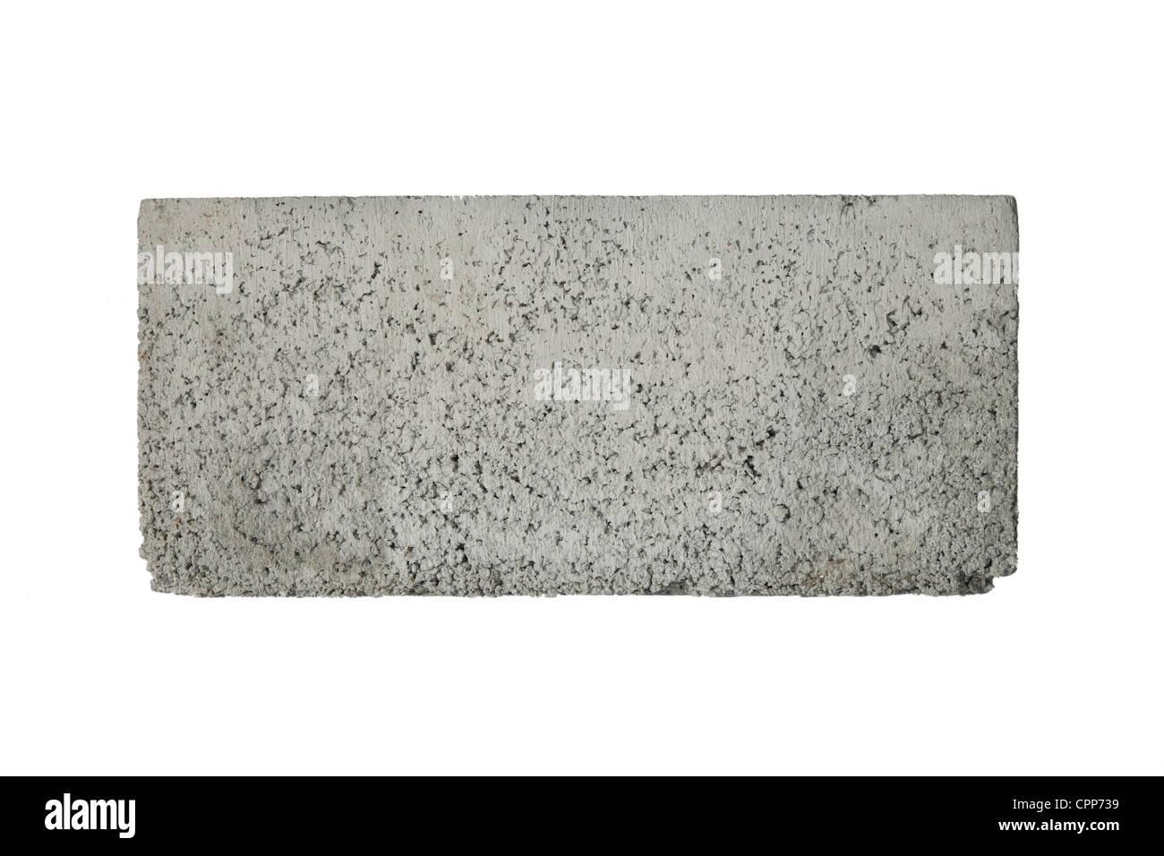 Concrete block isolated on white - Stock Image