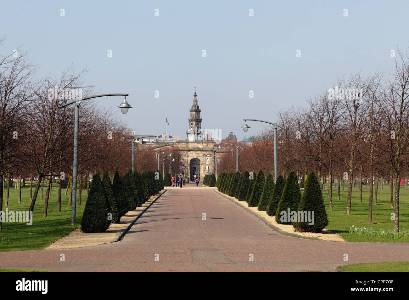 View looking west through Glasgow Green public park to the Merchant City, Scotland, UK - Stock Image