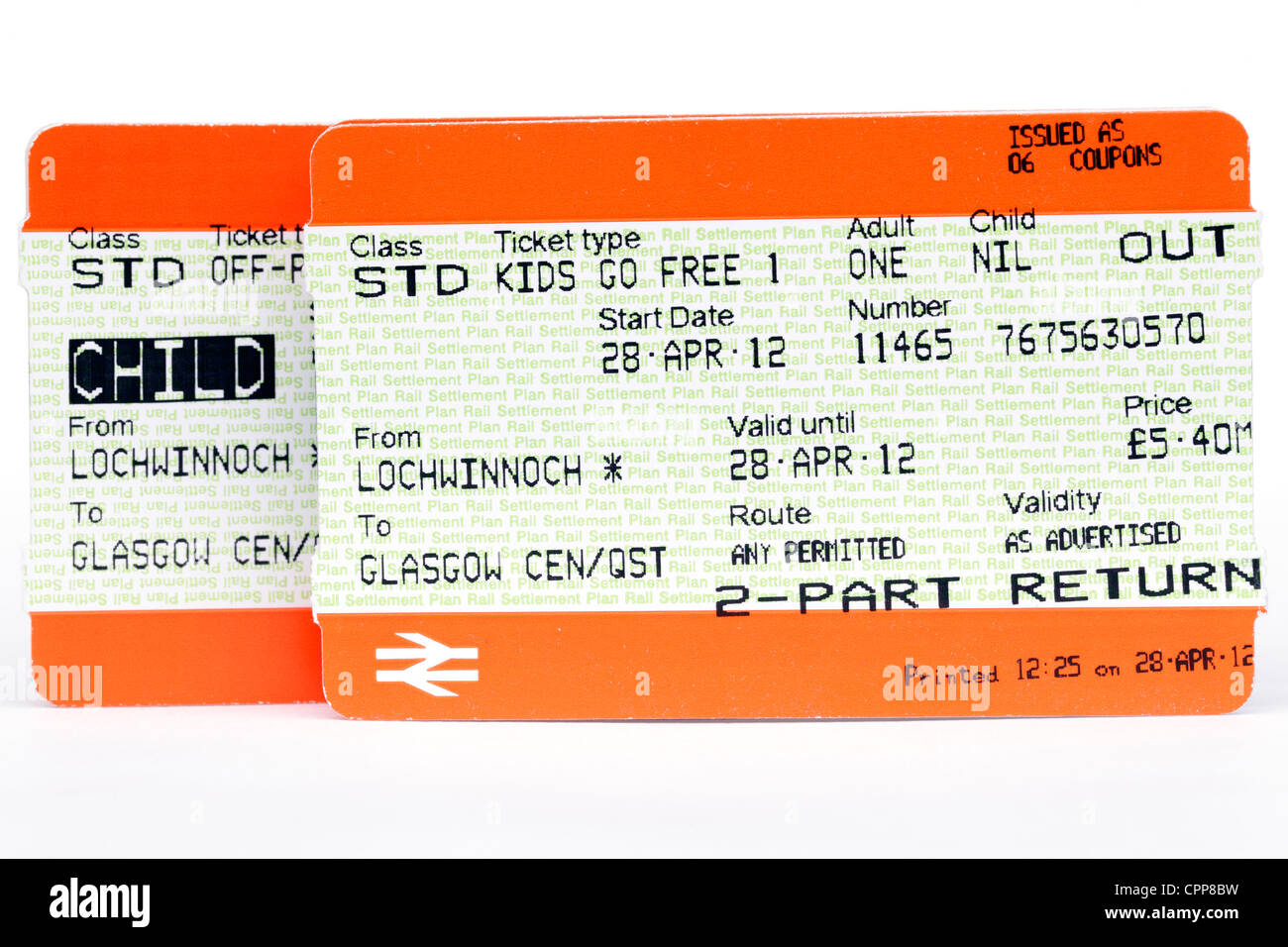 A Kids Go Free with an adult train ticket, Scotland, UK - Stock Image