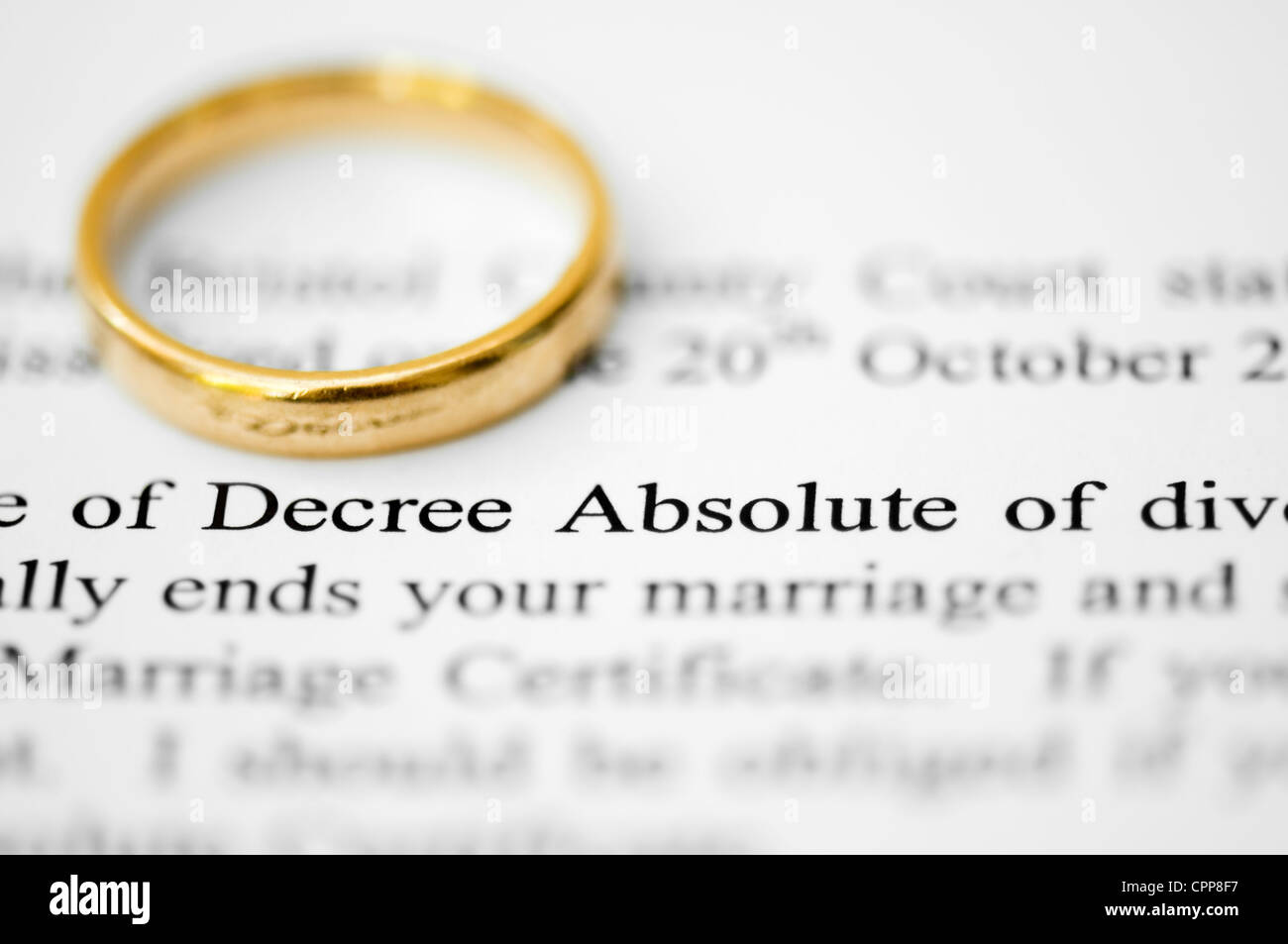 Wedding Ring On Top Of Solicitors Letter Highlighting The Words