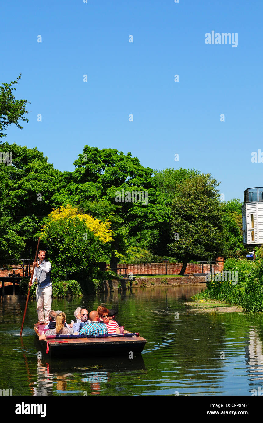 Punting on the River Stour, Canterbury, Kent - Stock Image