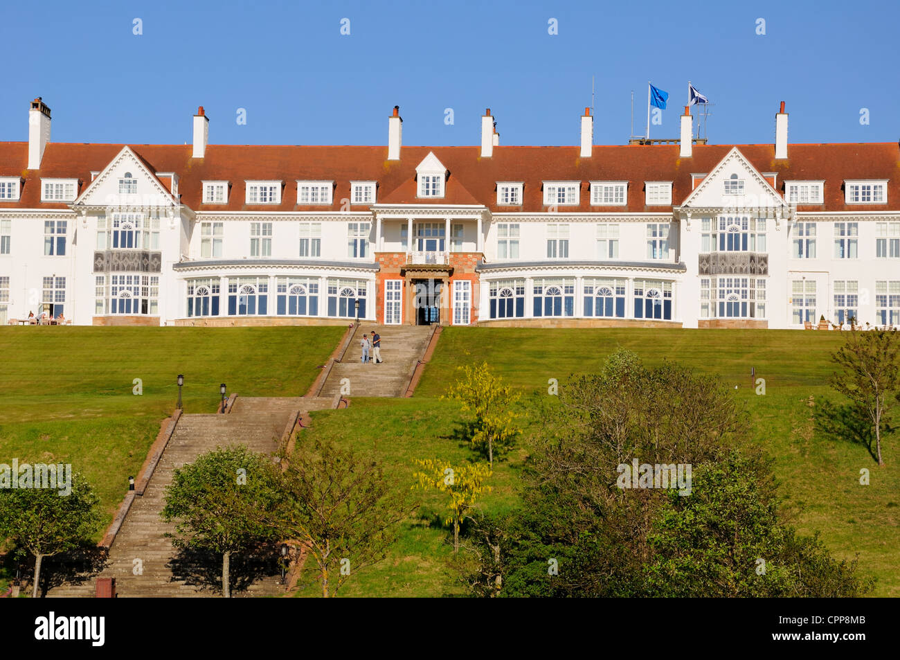 A Long flight of stairs leads up to the Turnberry Hotel entrance in Scotland, UK, Europe. - Stock Image