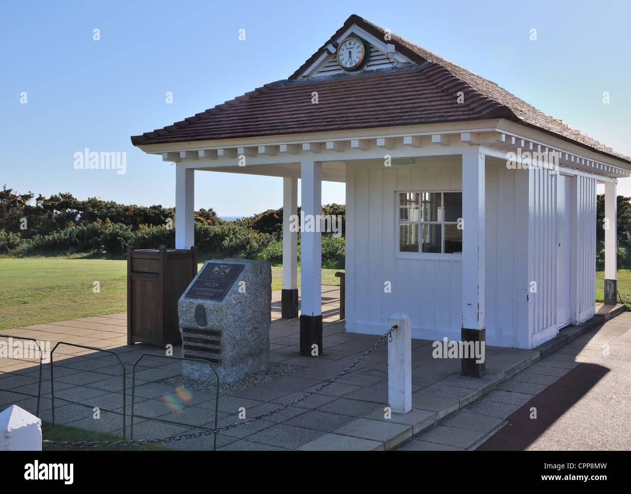 1st tee and starters office/hut at the Ailsa golf course, Turnberry Scotland. - Stock Image