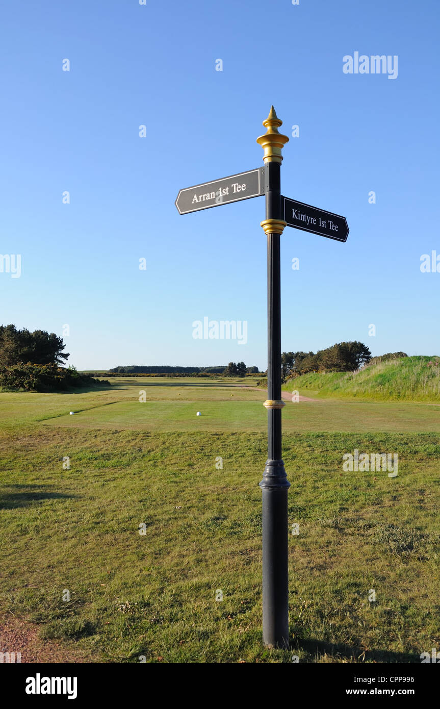 Signpost showing directions to tee off areas on Turnberry's golf courses. - Stock Image