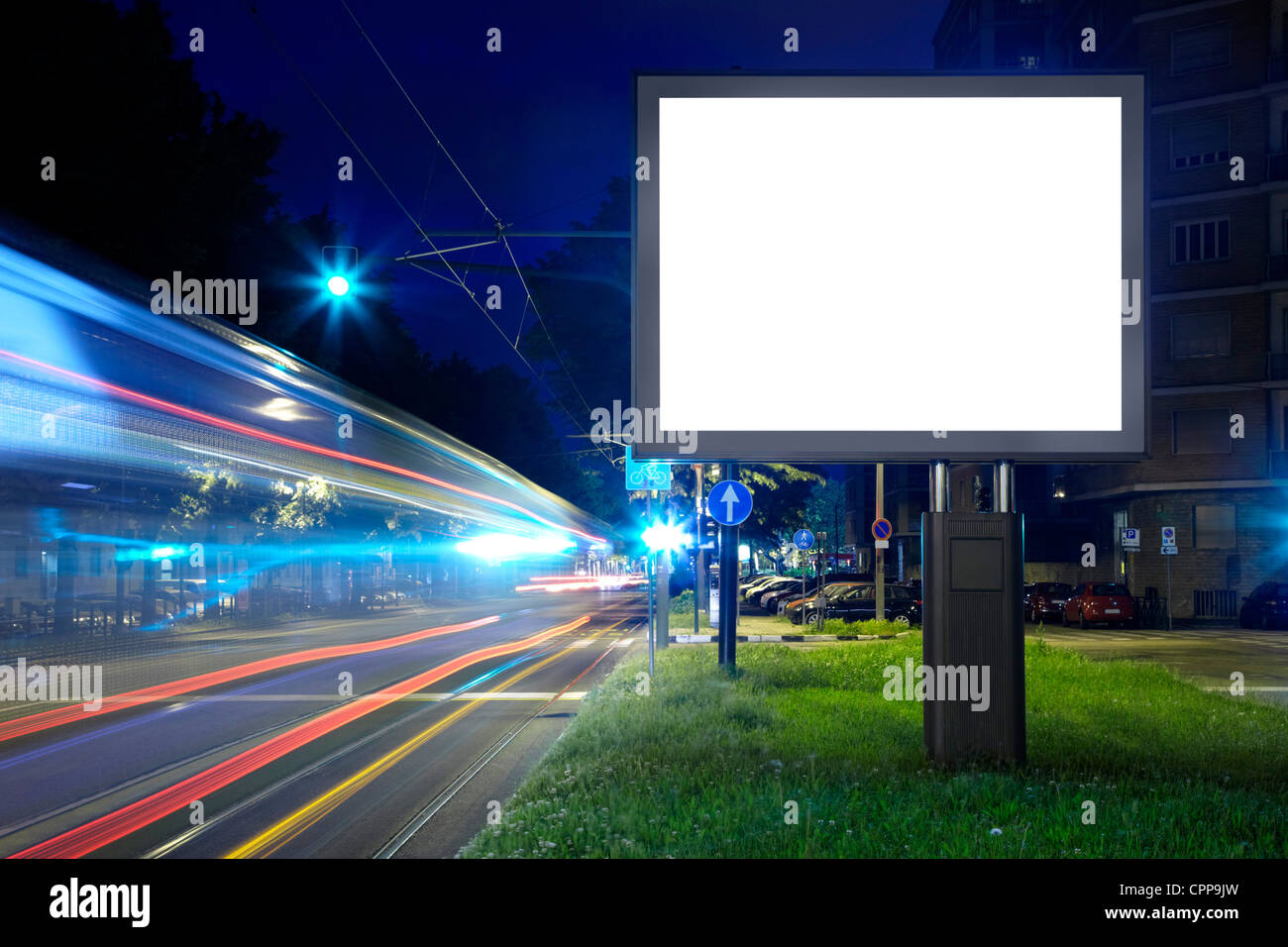 Billboard in the city street, blank screen - Stock Image