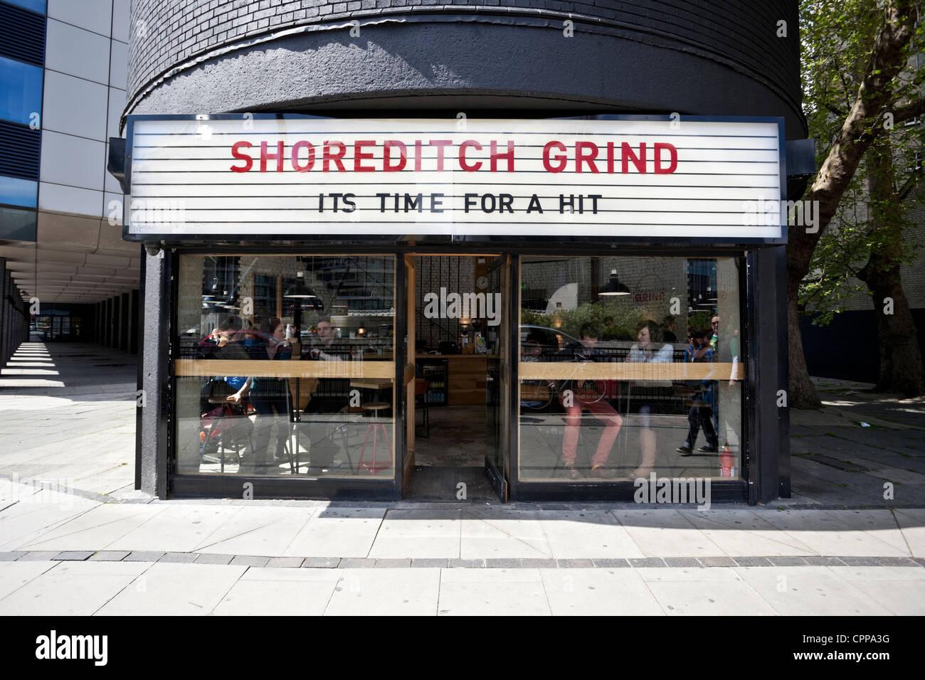 Shoreditch Grind Cafe, Shoreditch, London, EC1V 9NR, England, UK - Stock Image