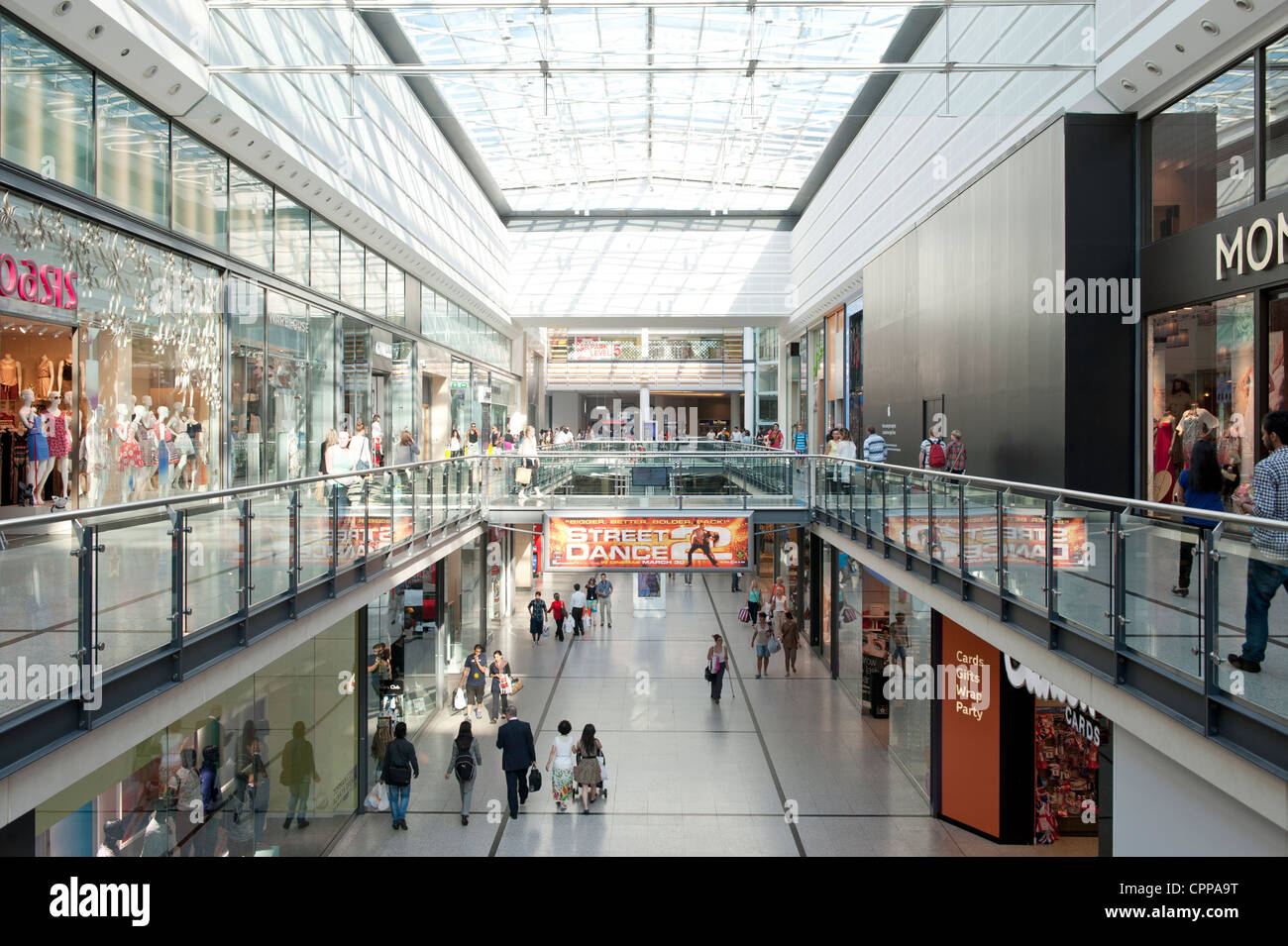 An internal shot of Manchester Arndale shopping centre mall located in the city centre. - Stock Image