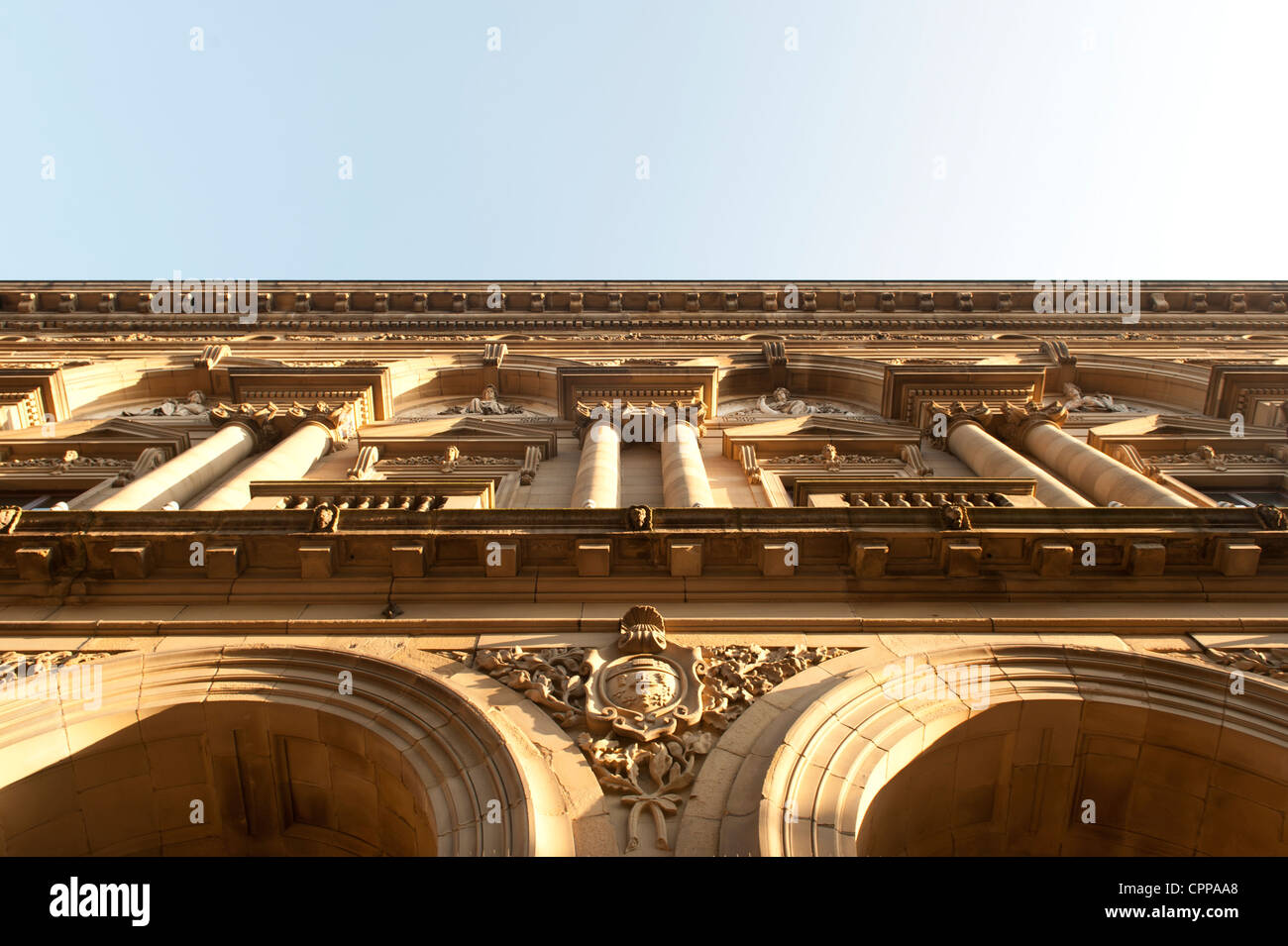 A detail of the front of the The Free Trade Hall (Radisson Edwardian Hotel), Peter Street, Manchester. - Stock Image