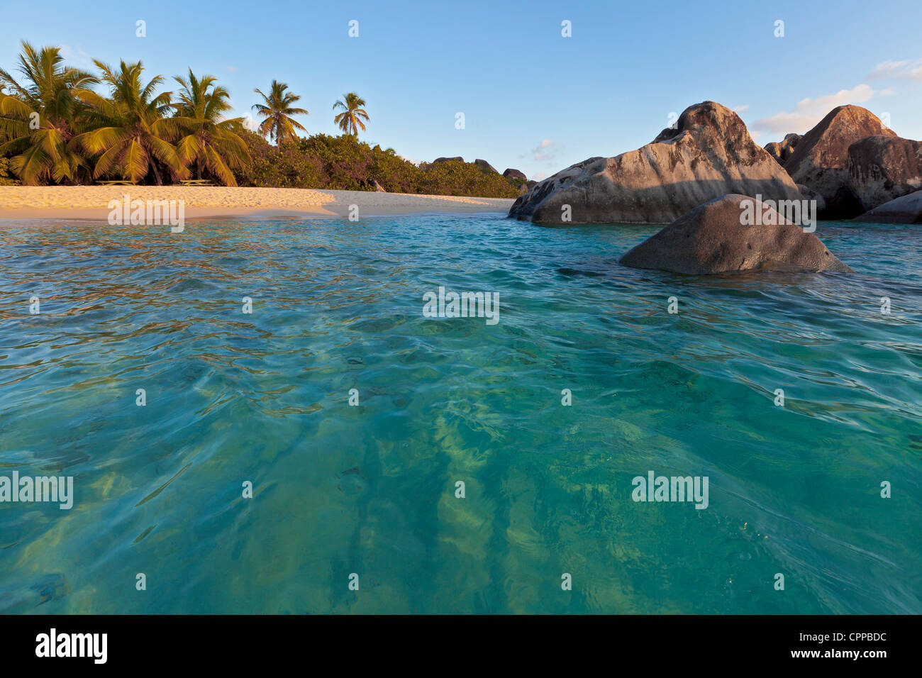 Virgin Gorda, British Virgin Islands in the Caribbean: Protected pool among the granite boulders on the beach known - Stock Image