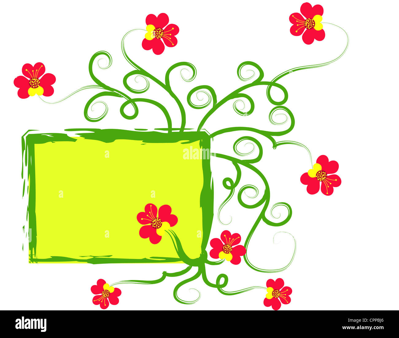 Red floral design on green frame Stock Photo
