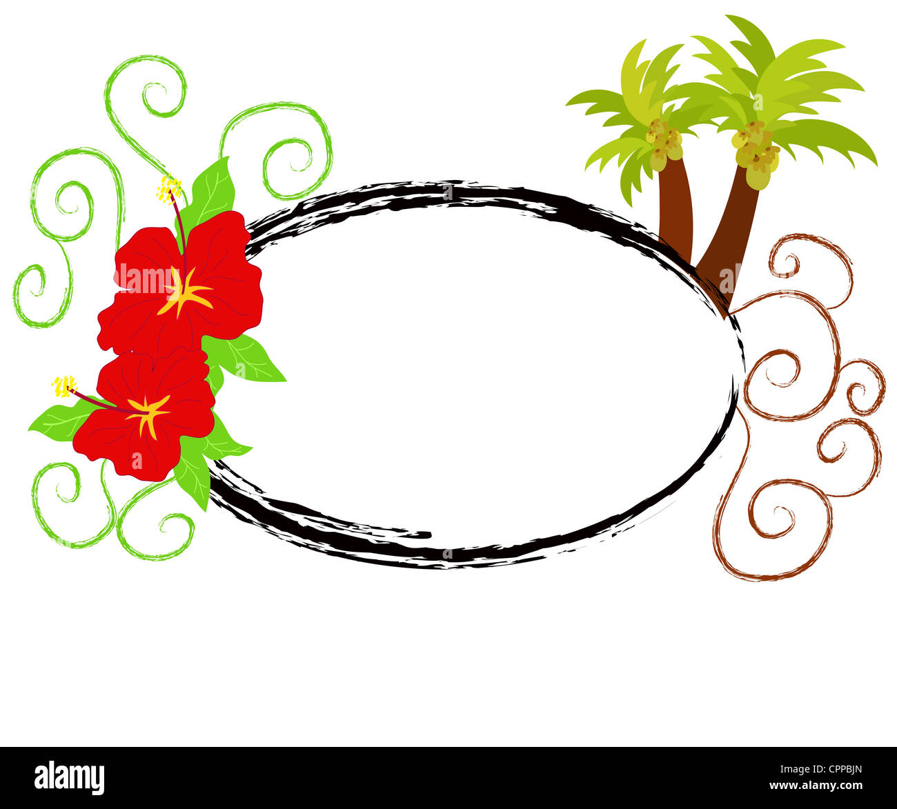Tropical frame with hibiscus flowers and palm trees Stock Photo