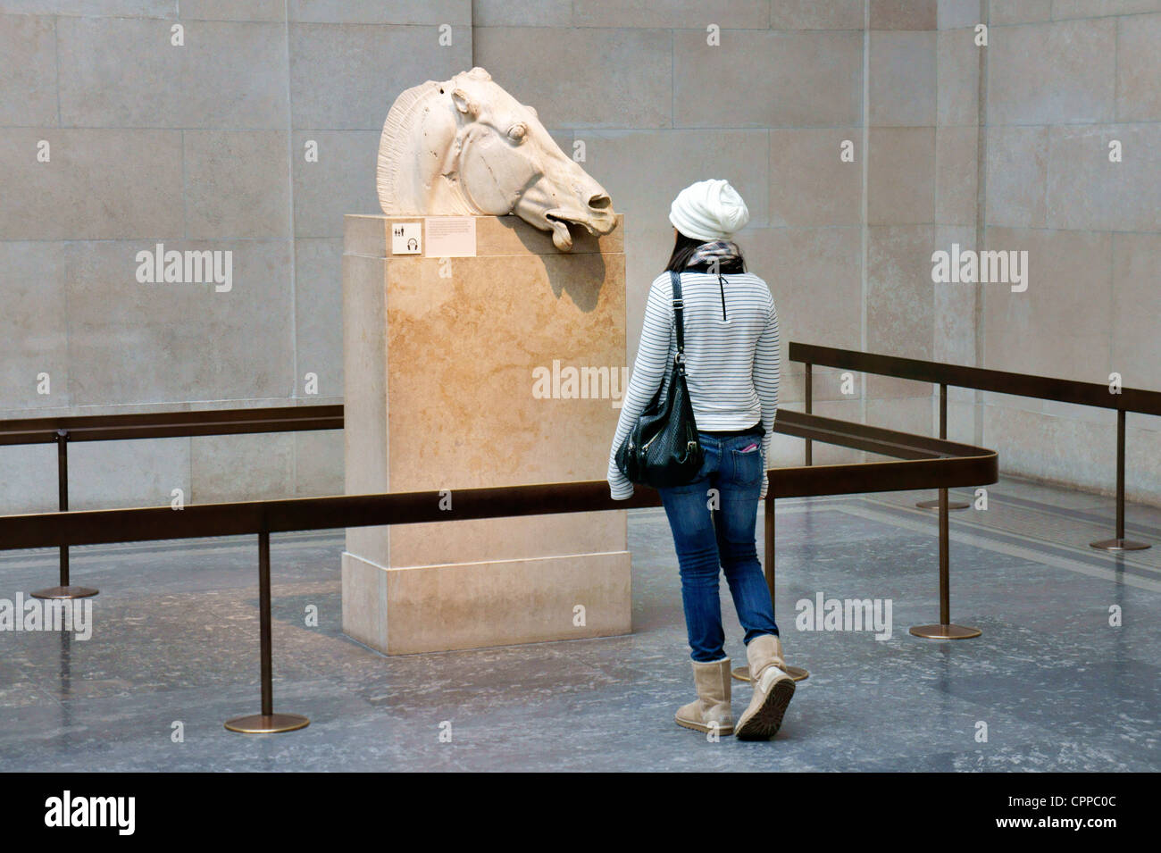 Marble head of chariot horse of Greek goddess Selene from east pediment of the Parthenon. Elgin Marbles. British Stock Photo