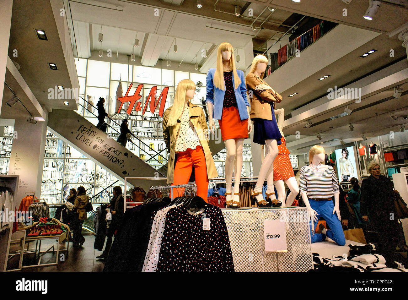 H & M clothing retail Swedish chain store. Womens ladies clothing. Ground floor interior. No. 234 Regent Street, - Stock Image