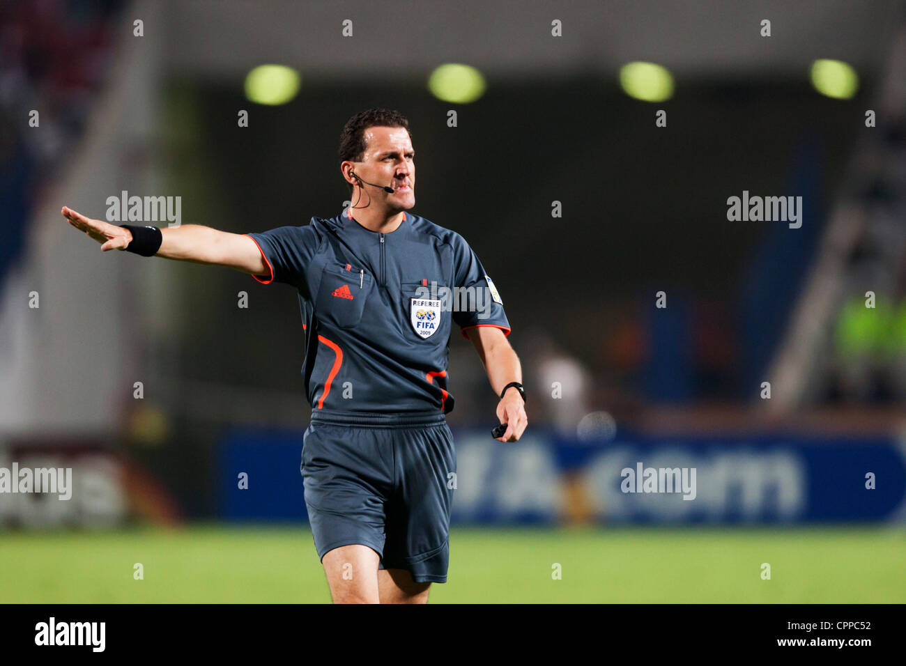 Referee Thomas Einwaller (Austria) gestures during a FIFA U-20 World Cup round of 16 match between Egypt and Costa - Stock Image