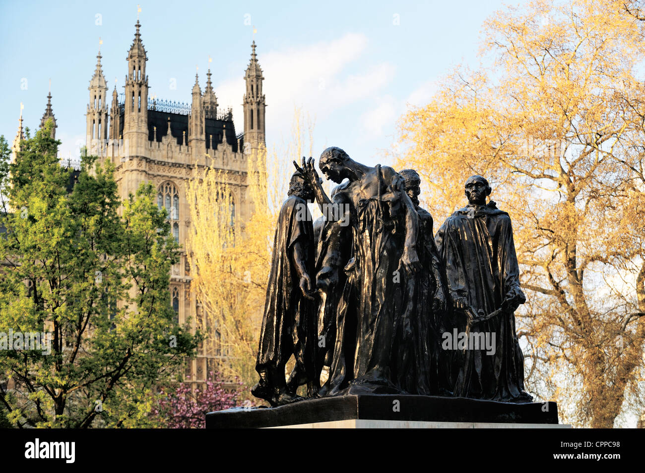 The Burghers of Calais. Statue by Rodin in Victoria Tower Gardens, Westminster, London. Shows episode in the Hundred - Stock Image