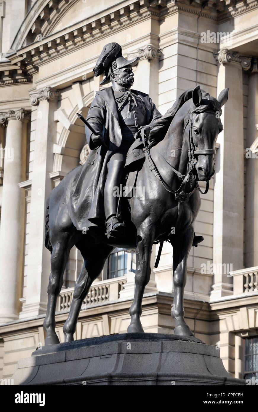 Statue of Prince George, Duke of Cambridge in front of the Ministry of Defence Building, Whitehall, central London, - Stock Image
