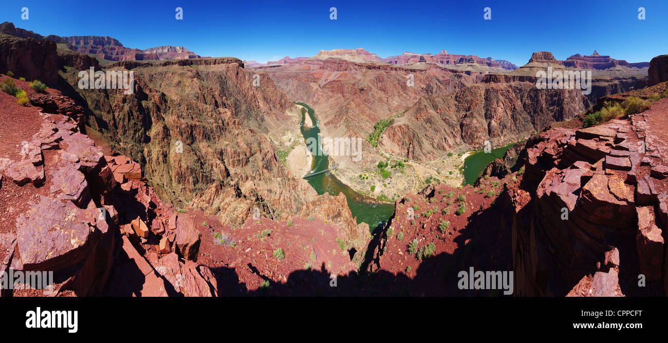 panorama of the Grand Canyon from an overlook on the South Kaibab trail on the Inner Gorge with Phantom Ranch and - Stock Image