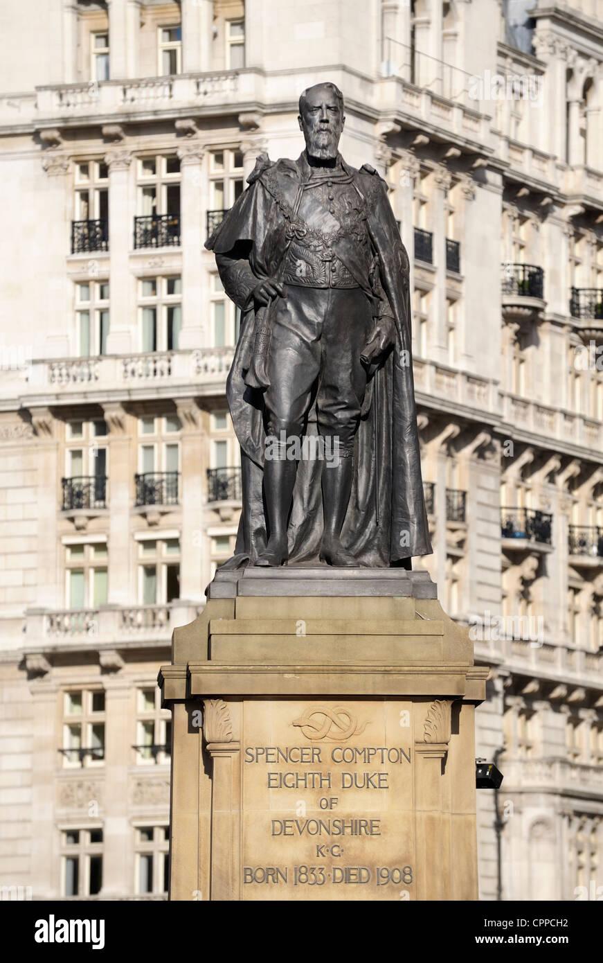 Statue of British statesman Spencer Compton Cavendish, 8th Duke of Devonshire, by sculptor Herbert Hampton. Whitehall, - Stock Image